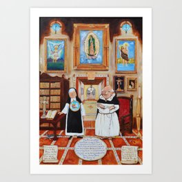 Sister Laica and Fray Polito in the Guadalupana Library of the Carmelite Convent with Tennis Art Print