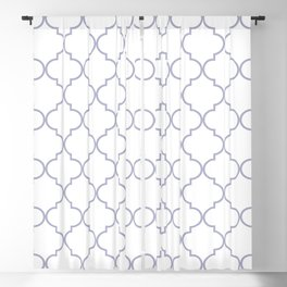 Quatrefoil - white and silver Blackout Curtain