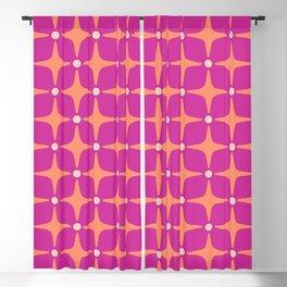 Mid Century Modern Star Pattern 143 Magenta and Orange Blackout Curtain
