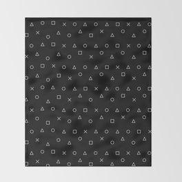 black gaming pattern - gamer design - playstation controller symbols Throw Blanket