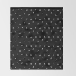 black gaming pattern - gamer design - playstation controller symbols Throw Blanket