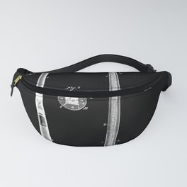 Baseball Bat Patent 1885 black and white Fanny Pack