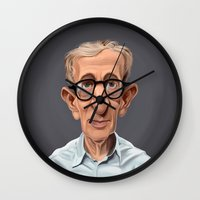 celebrity Wall Clocks featuring Celebrity Sunday ~ Woody Allen by rob art | illustration