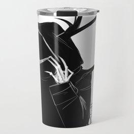 Creepy Grinning Hooded figure Travel Mug