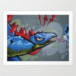 Pink and Blue Stegosaurus Graffiti Mural Art Print