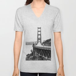 Golden Gate Bridge Black and White Unisex V-Neck