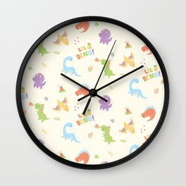 little baby dino pattern Wall Clock
