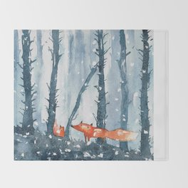 Foxes in forest Throw Blanket