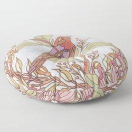 Magnolia And Marigold Wreath With Songbird Floor Pillow
