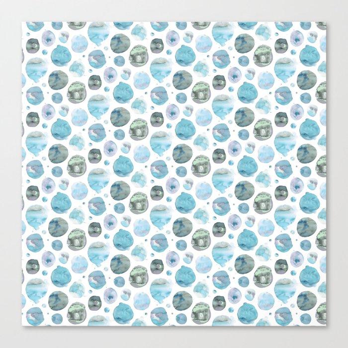 Blue Watercolor Polka Dots Leinwanddruck