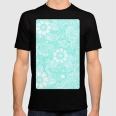 Henna Design - Aqua Black Mens Fitted Tee MEDIUM