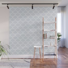 Light Grey fish scales pattern Wall Mural