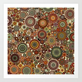 Decorative Circle design in Browns and greens Art Print