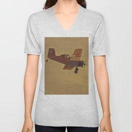 Crop Duster Flying In A Storm Unisex V-Neck