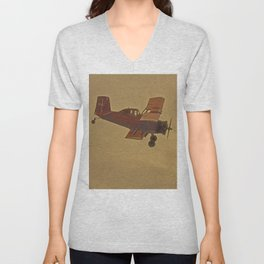 Crop Duster Flying In A Storm Unisex V-Neck