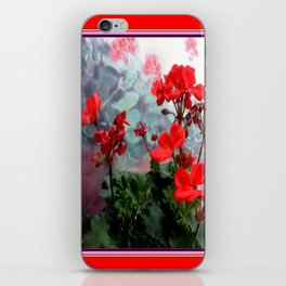Red Geraniums Floral Red Abstract iPhone Skin