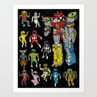power rangers Art Prints featuring Mighty Melty Power Rangers by Josh Ln