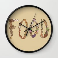 food Wall Clocks featuring FOOD by Brinny Langlois