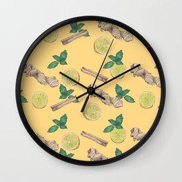 ginger lemon pattern Wall Clock