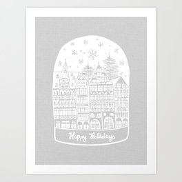 Linocut White Holidays Art Print
