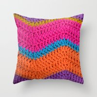 60s Throw Pillows featuring 60s Colours by Wild Daffodil