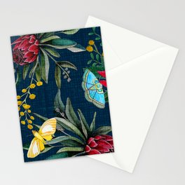 Protea and Watarah with golden wattle, Australian flowers and butterfly moths painted in watercolor Stationery Cards