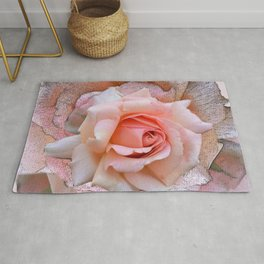 Blush rose with textured blossoms Rug
