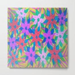 Tropical Rain Flowers Metal Print