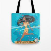 pocahontas Tote Bags featuring Pocahontas by LindseyCowley