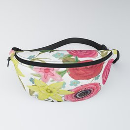 Easter rabbit with spring flowers, watercolor Fanny Pack