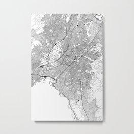 Athens White Map Metal Print