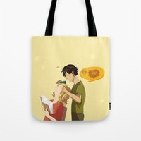 enjolras Tote Bags featuring Enjolras et Grantaire by Sarlyne