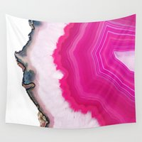 agate Wall Tapestries featuring Pink Agate Slice by cafelab