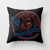 river song Throw Pillows featuring Where In Time Is River Song by Kswaiy