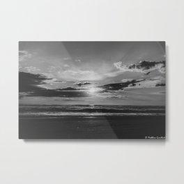 Sunset North Sea Denmark Bjerregard Beach 3 bw Metal Print