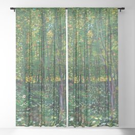 Brush and Underbrush flower and forest landscape by Vincent van Gogh Sheer Curtain