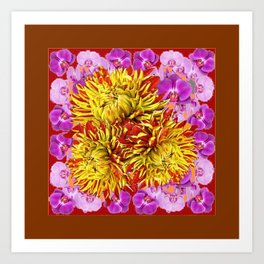 Abstracted Yellow Chrysanthemums Floral & Orchids Art Print