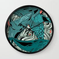 whales Wall Clocks featuring Whales by melcsee