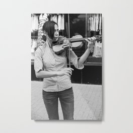 Bulgarian girl musician plays her violin on a street - Black and white musical photography Metal Print