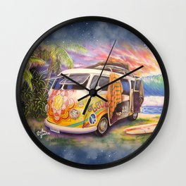 Hippie Surfer Life Wall Clock