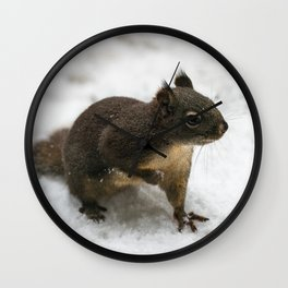 Winter Squirrel -  Cute Wildlife Animals Nature Photography Wall Clock