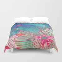 mint Duvet Covers featuring Between the Lines - tropical flowers in pink, orange, blue & mint by micklyn