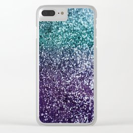 Aqua Purple Ombre Glitter #1 #decor #art #society6 Clear iPhone Case