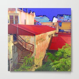 Vietnam Back alley Painting Blue Sky Metal Print