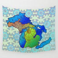 michigan Wall Tapestries featuring Michigan by Dusty Goods