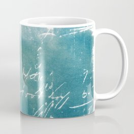Blue Vintage Writing Cyanatope Print Coffee Mug