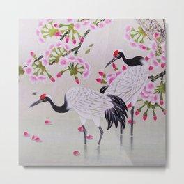 Chinese - Crane and Sakura Metal Print