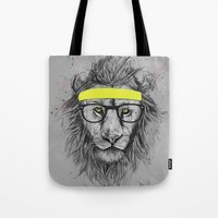 hipster Tote Bags featuring hipster lion by Balazs Solti