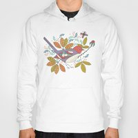 50s Hoodies featuring Bird and Butterfly  by Anna Deegan
