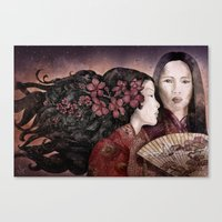 sisters Canvas Prints featuring Sisters by Marine Loup